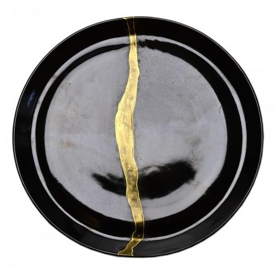 Assiette grès noir kintsugi