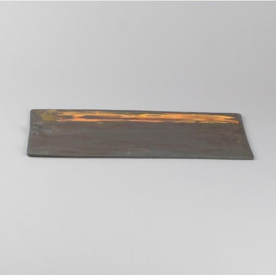 Black stoneware tray